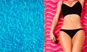 Woman In Bikini On The Inflatable Mattress In The Swimming Pool. poster