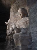 Stone Buddha Statue In Yungang Cave In Datong