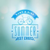 Bycicle Rental Summer Badge. Typographic Retro Style Label With Blurred Background. Rental Agency Co poster