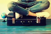 Summer Travel And Vacation Concept,young Woman Packing Suitcase At Home poster