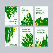 Cocos Islands Patriotic Cards For National Day. Expressive Brush Stroke In National Flag Colors On W poster