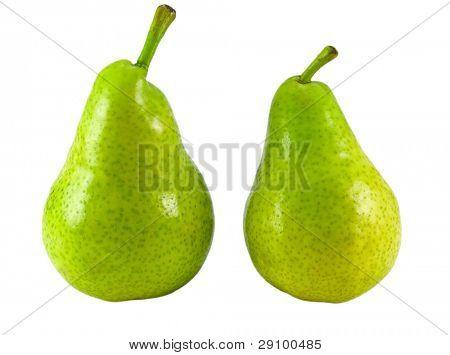 dos peras aislados en blanco