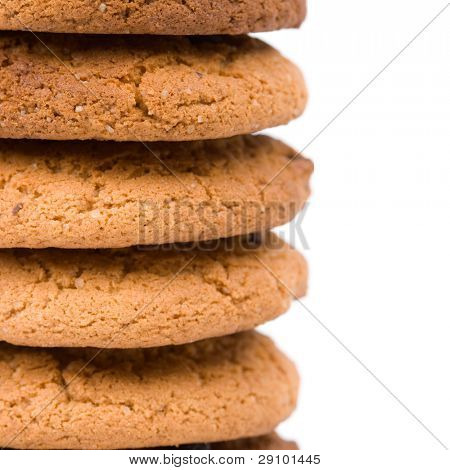 stack of oatmeal chocolate chip cookies closeup