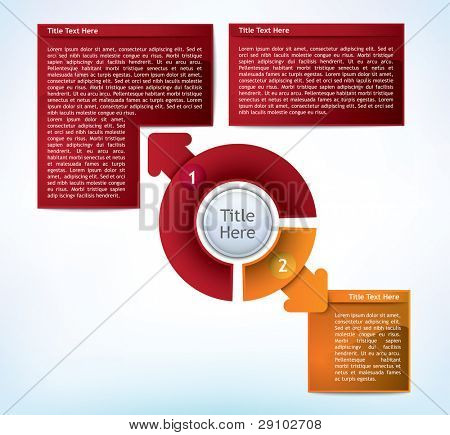 Business Presentation Diagram with two different sized fields for text and statistics