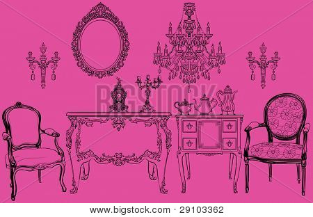 Vector illustration of a set of Louis XV style objects