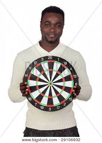 Attractive african man with target isolated on a over white background