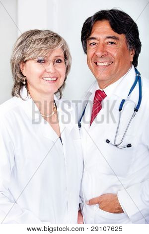 Couple of friendly doctors at the hospital