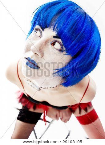 isolated freak girl funny portrait photo