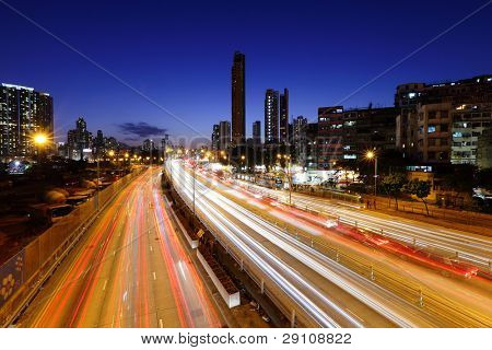 traffic on highway in urban at night