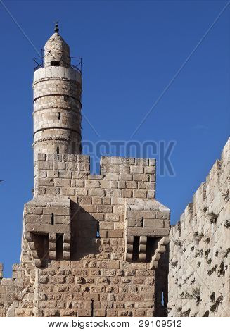 David's tower. Eternal Jerusalem surrounded with indestructible walls