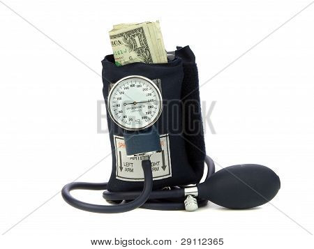 Squeezing Money With Blood Pressure Cuff