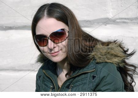 Teenager Long-Haired Girl In Brown Sunglasses