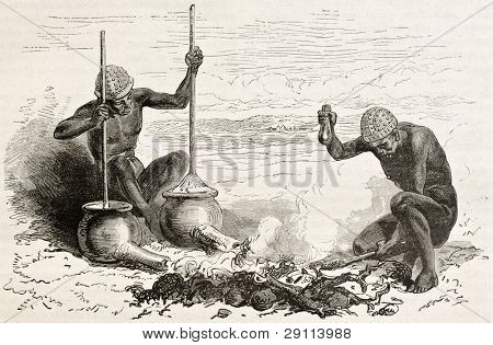 Tribal blacksmiths in Latoukas tribe, southern Sudan. Created by Neuville, published on Le Tour du Monde, Paris, 1867