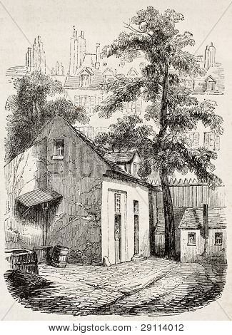 The house where Blaise Pascal died in rue Neuve-Saint-Etienne, Paris. Created by Durond, published on Magasin Pittoresque, Paris, 1845
