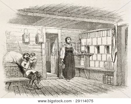 Izba interior old illustration (traditional Russian house). Created by Moynet, published on Le Tour du Monde, Paris, 1867