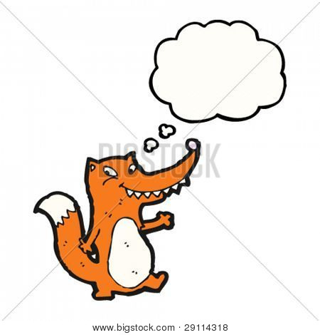 happy fox with thought bubble cartoon