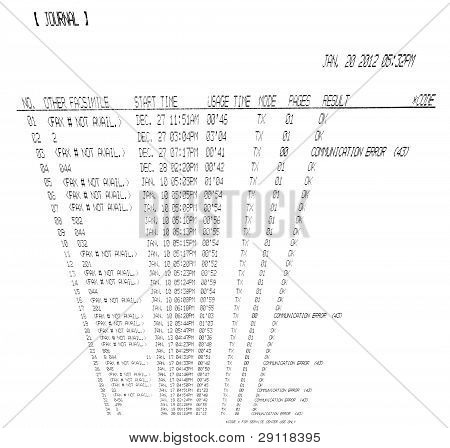 Printed Fax Spreadsheet Isolated On White Background, Facsimile, Time Numbers Heap