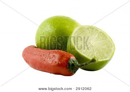 Two Lime And A Red Chili Isolitad On White Background