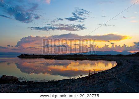 Nice sunset/twilight with reflection on a desert lake. Bombay Beach at the Salton Sea.