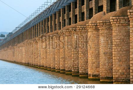 Historic Prakasam barrage bridge in India