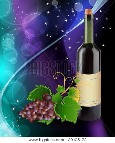 Grape and bottle of wine
