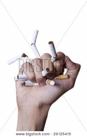 Quit Smoking Concept Crushing Cigarettes