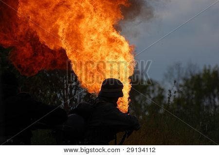 KIEV ,UKRAINE.  Military history club Red Star. Historical military reenacting. German soldier with flame-thrower.