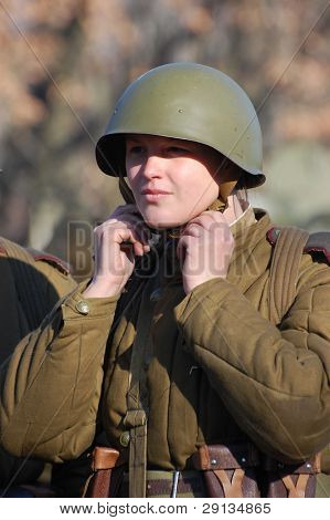 KIEV,UKRAINE. 9 November 2008 Person in Soviet WW2 military uniform. Member of military history club  Red Star.  Historical military reenacting Kiev ,Ukraine. 7-9 November 2008