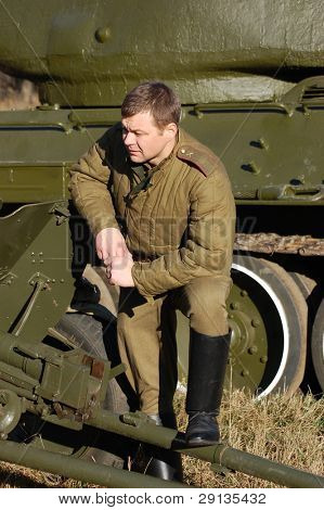 KIEV,UKRAINE - NOV 7: Person in Soviet WW2 military uniform. Member of military history club Red Star. Historical military reenacting