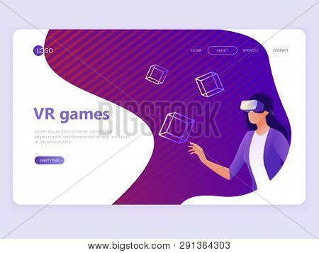 poster of Landing Page Template. Vr Gaming, Video Gaming, Online Games. Woman With Vr Glasses. Flat Vector Ill