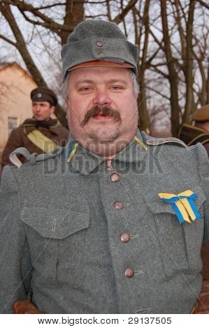 KIEV, UKRAINE - FEBRUARY 2, 2008. A member of the military history  club, Red Star, wears a historical military Austro-Hungarian  uniform circa 1918 in Kiev, Ukraine on February 2, 2008.