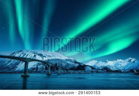 Bridge And Aurora Borealis Over