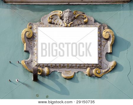 Wall With  Vintage And Epmty Frame For Text
