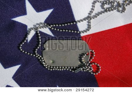 US flag and dog tag