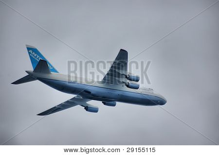 KIEV, UKRAINE - AUGUST 24 : Antonov cargo plane AN-124 flies by at air parade during Ukraine independence day celebration August 24, 2009 in Kiev, Ukraine.