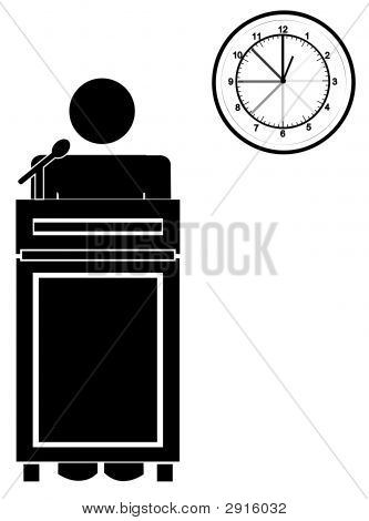 Stick Man At Podium W Clock