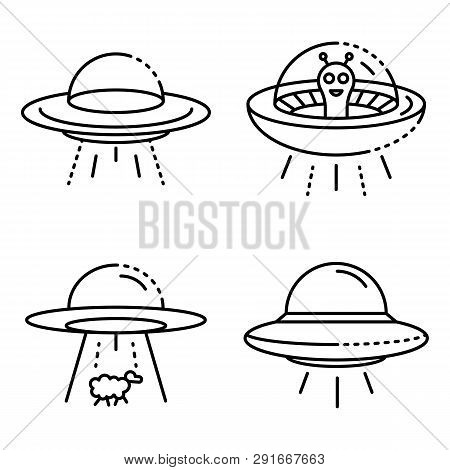 Ufo Icons Set Outline Set