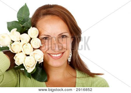 Woman With White Roses