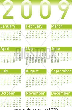 Calendar 2009 In Green