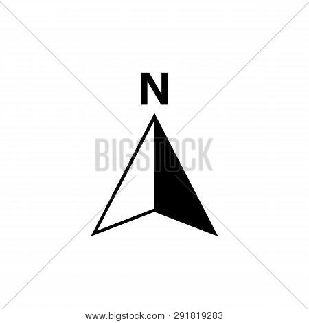 poster of North Arrow Icon Or N Direction And Navigation Point Symbol. Vector Logo For Gps Navigator Map