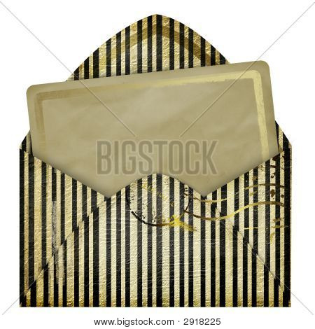 Set Of Vintage Paper And Striped Envelope