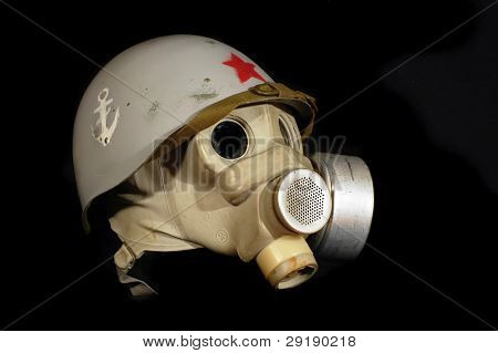 Soviet battle helmet. (M40)(1940) Painted for Marine Corp and gas mask