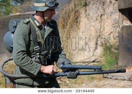 German soldier with flame-thrower. WW2 reenactment in Kiev,Ukraine