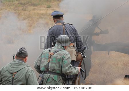 KIEV, UKRAINE -NOV 6: Unidentified members of Red Star history club wear historical German Luftwaffe uniform during historical reenactment of WWII, November 6, 2011 in Kiev, Ukraine