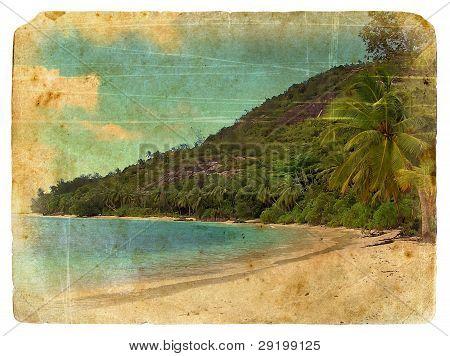 Indian Ocean Landscape, Seychelles. Old Postcard.