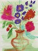 Childrens Drawing bouquet For My Mother On March 8. Still Life. Wet Watercolor On Paper. Naive Art poster