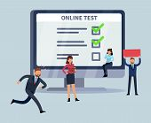 Online Survey. Smartphone Laptop Internet Ui Surveys Apps Feedback With Customer And Office People G poster