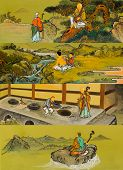 stock photo of seoraksan  - The old traditional buddhist painting on wall in temple at Seoraksan in South Korea - JPG
