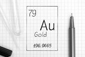 The Periodic Table Of Elements. Handwriting Chemical Element Gold Au With Black Pen, Test Tube And P poster