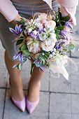 Beautiful Bouquet With Delicate Flowers. Pink-white-purple Bouquet. Bridal Bouquet In Female Hands.  poster
